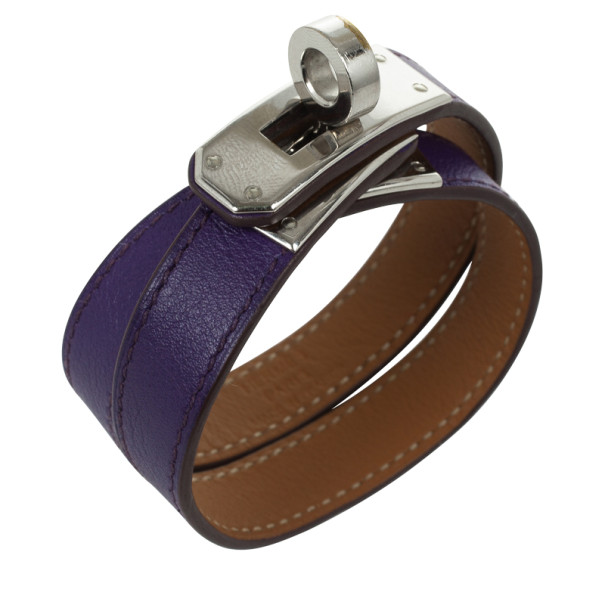 Hermes Kelly Double Tour Purple Leather Bracelet