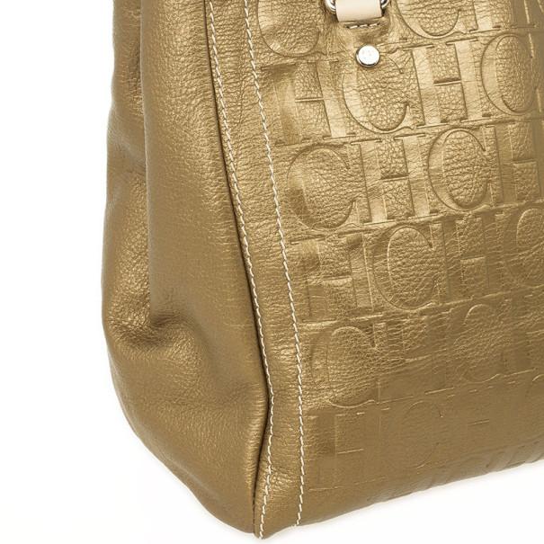 Carolina Herrera Gold Monogram Embossed Tote