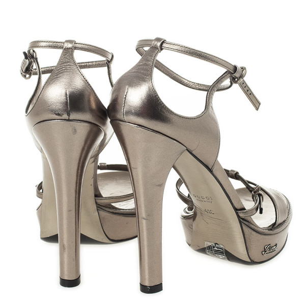 Gucci Grey Leather Ankle Strap Platform Sandals Size 41