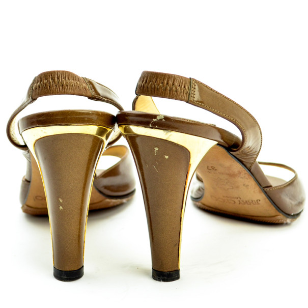 Jimmy Choo Brown Leather Open Toe Slingback Sandals Size 37