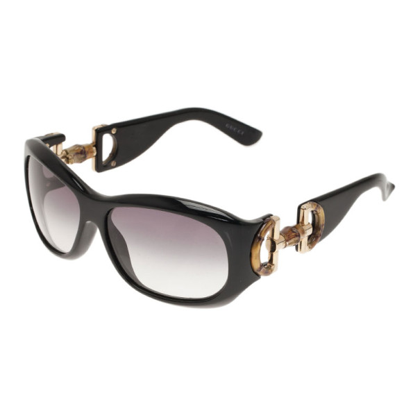 Gucci Black Bamboo Horsebit Oversized Sunglasses