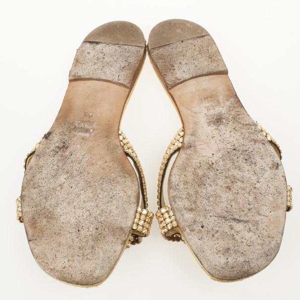 Gina Gold Crystal Embellished Flat Slides Size 39.5