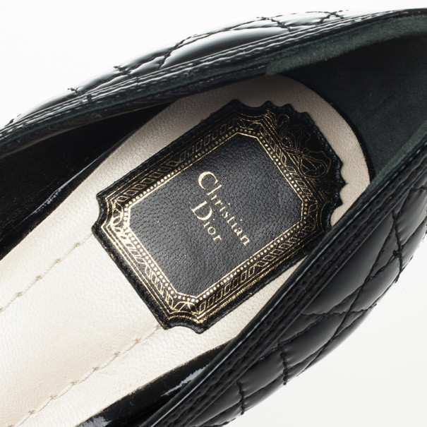 Christian Dior Black Patent Cannage Bow Peep Toe Pumps Size 39.5