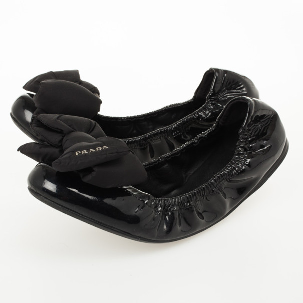 Prada Sport Black Patent Leather Bow Detail Ballet Flats Size 39.5