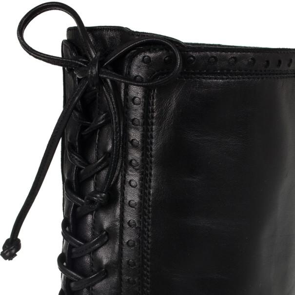 Yves Saint Laurent Black Leather Tribtoo Knee Length Platform Boots Size 39.5