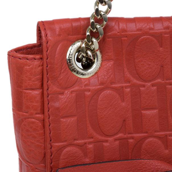 Carolina Herrera Orange Monogram Leather Audrey Shoulder Bag