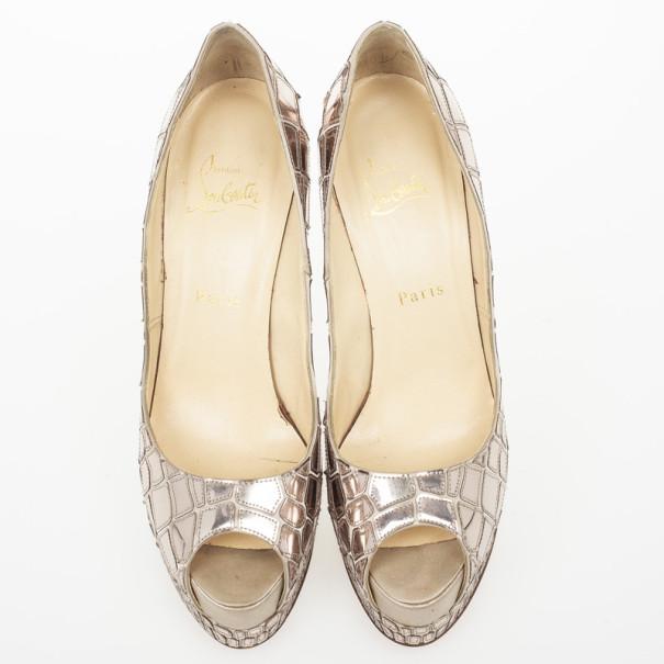 Christian Louboutin Silver 'Sobek 140' Mosaic Peep Toe Pumps Size 39.5