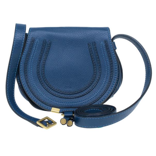 Chloe Blue Leather Mini Marcie Crossbody