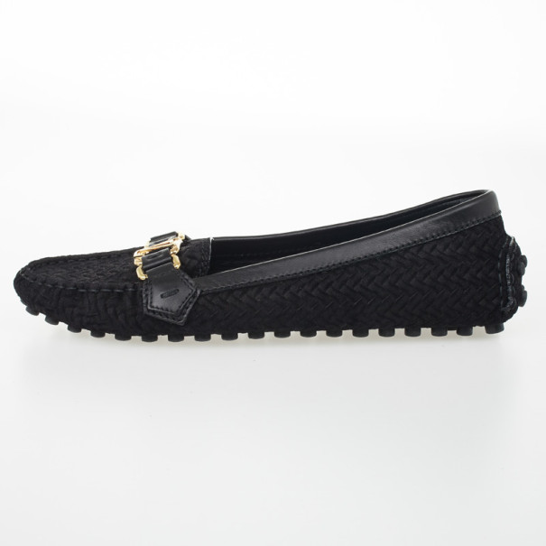 Louis Vuitton Black Suede Oxford Loafers Size 39