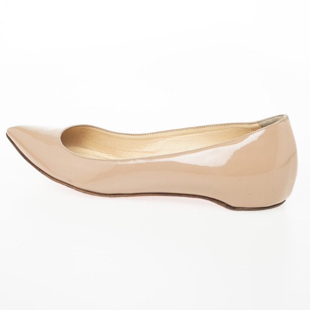 Christian Louboutin Nude Patent Pigalle Ballet Flats Size 39.5