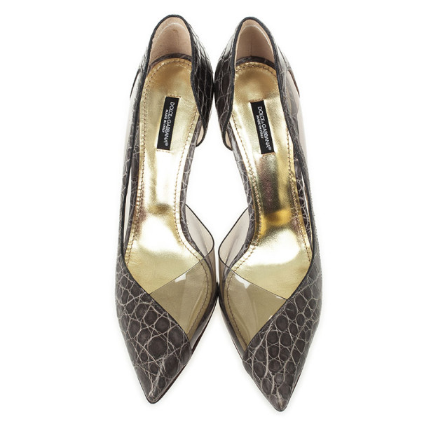 Dolce and Gabbana Croc Embossed Pointed Toe D'orsay Pumps Size 40