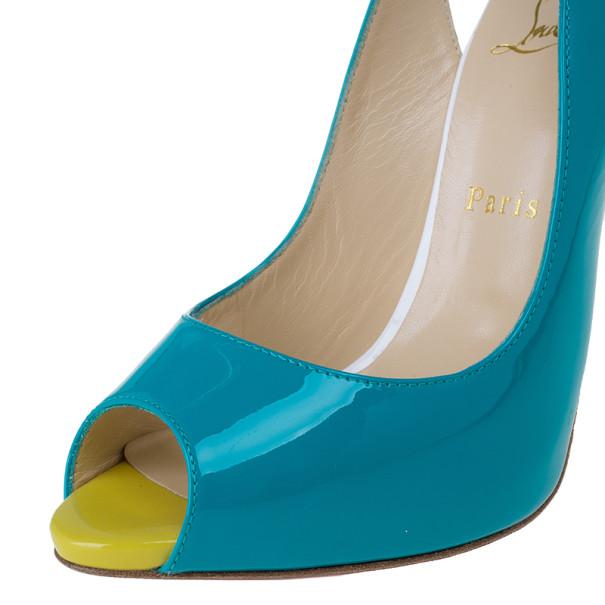 Christian Louboutin Tricolor Patent Flo Slingback Sandals Size 38