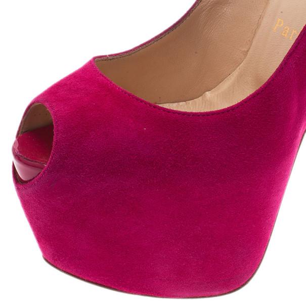 Christian Louboutin Pink Suede Highness Peep Toe Platform Pumps Size 37