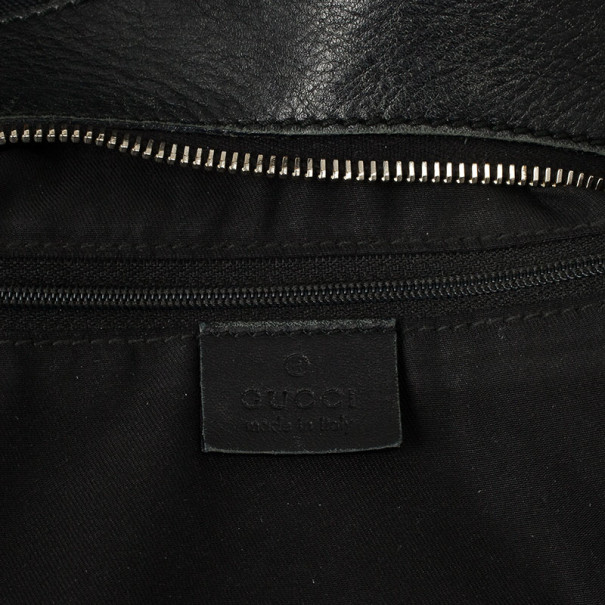 Gucci Black GG Canvas D Gold Hobo Bag