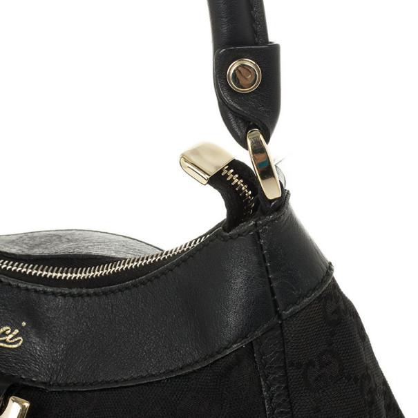 Gucci Black GG Canvas D Gold Hobo Bag