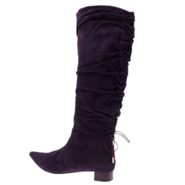 Gucci Purple Suede Knee Boots Size 39.5
