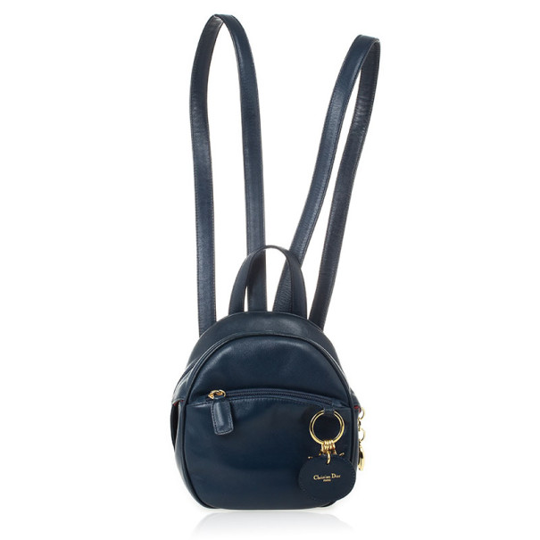Christian Dior Vintage Navy Leather Mini Backpack
