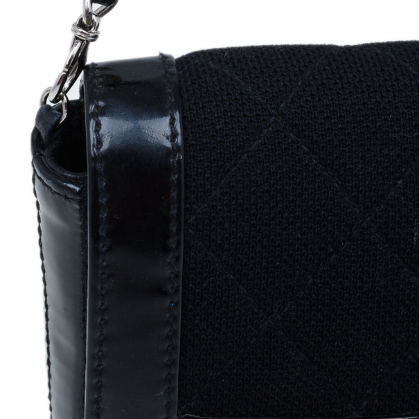Chanel Black Quilted Wool and Patent Leather East/West Mademoiselle Flap Bag