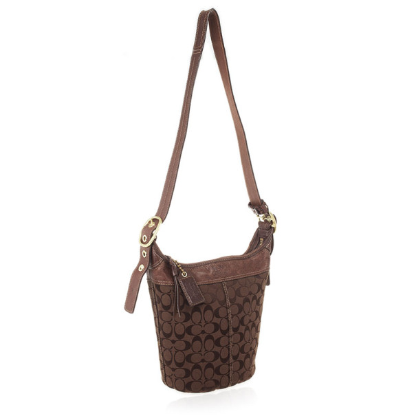 Coach Signature Bleecker Duffle Bucket Crossbody Bag
