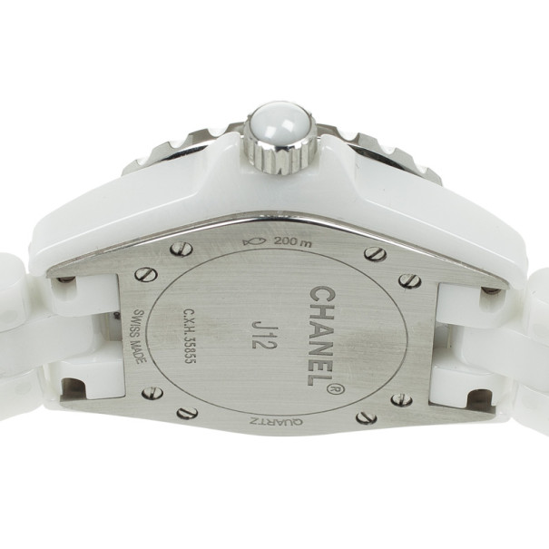 Chanel J12 White Ceramic Diamond Womens Watch 34 MM