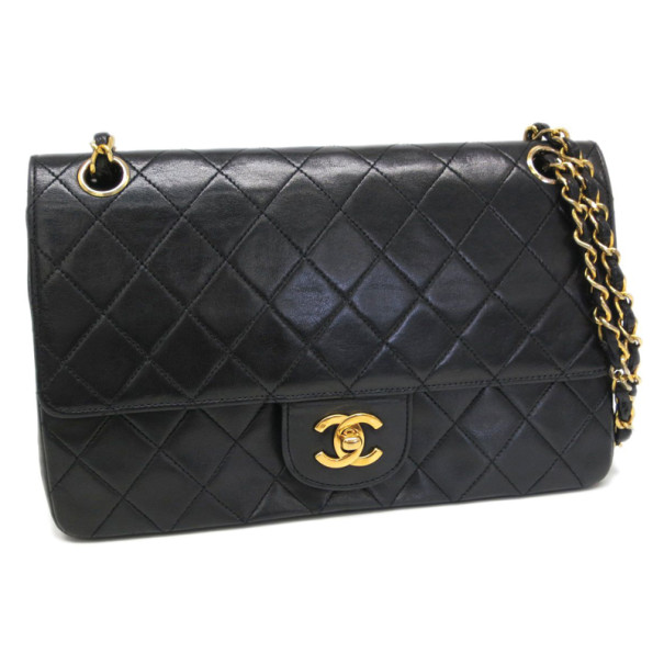 Chanel Black Lambskin Medium Flap