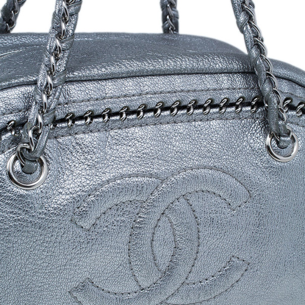 Chanel Luxe Ligne Silver Leather Chain Trim Large Bowler Boston Duffel Bag