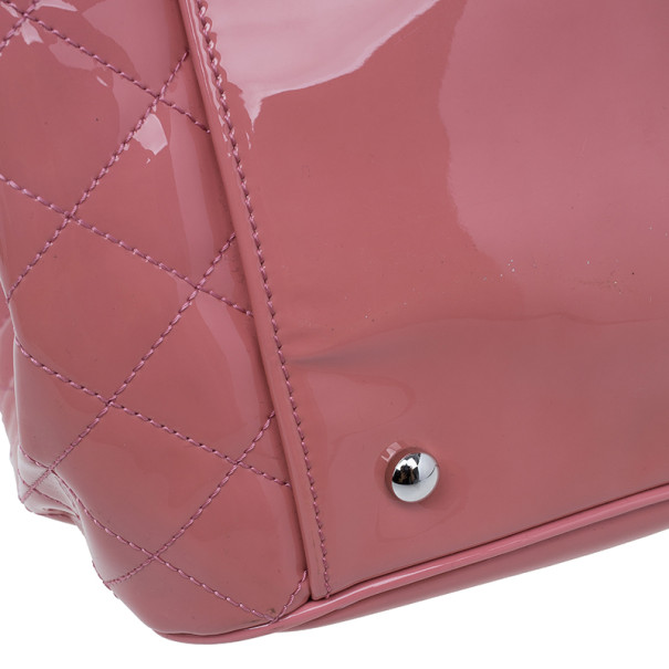 Chanel Pink Patent Leather CC Lipstick Tote