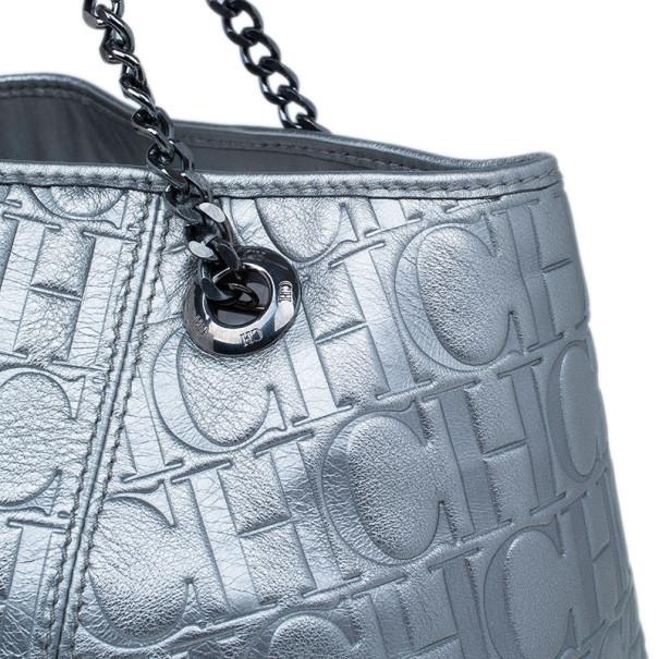 Carolina Herrera Silver Metallic Leather Poppy Tote