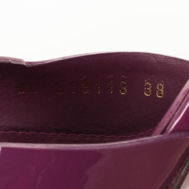 Yves Saint Laurent Magenta Patent Studded Platform Sandals Size 38