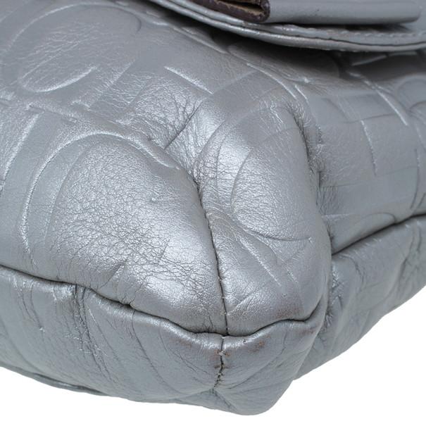 Carolina Herrera Silver Metallic Leather Audrey Bag
