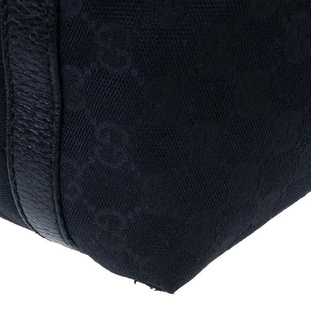 Gucci Black GG Canvas Ladies Web Large Hobo