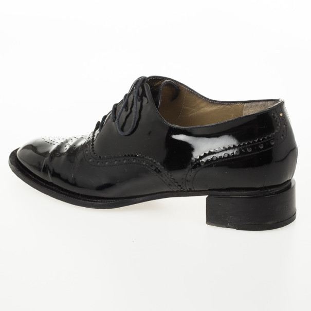 Yves Saint Laurent Black Patent Brogue Oxford Shoes Size 37.5