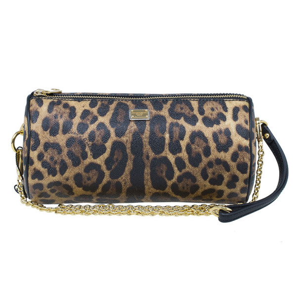 Dolce and Gabbana Leopard Print Chain Small Shoulder Bag
