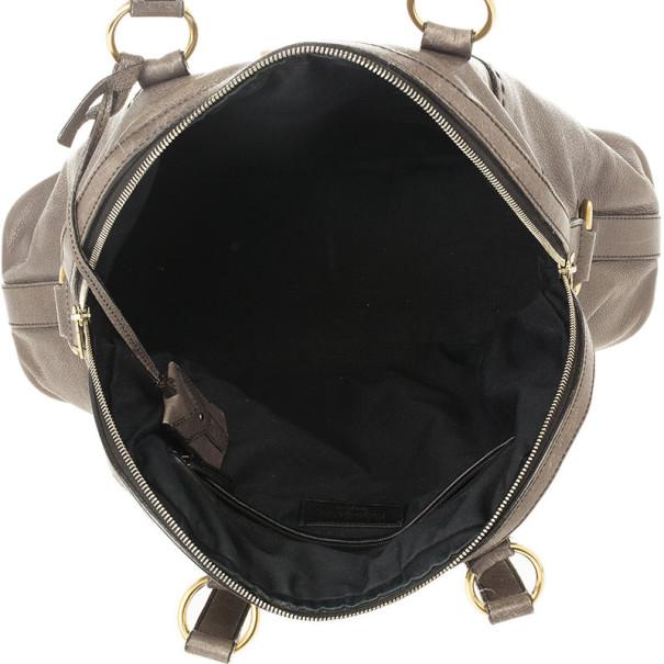 Yves Saint Laurent Oversized Grey Leather Muse Bag