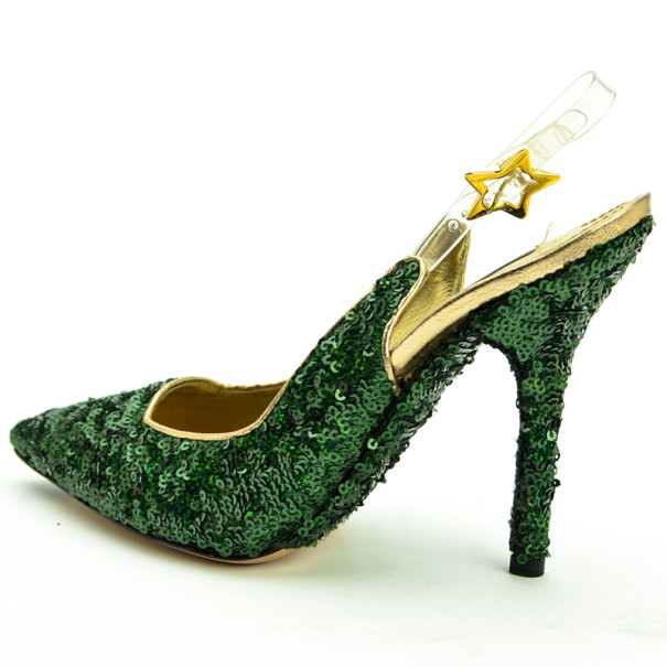 Dolce and Gabbana Green Pointed Toe Paillettes Slingback Sandals Size 39