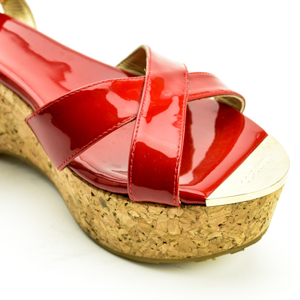 Jimmy Choo Red Patent Leather 'Panther' Cork Wedge Sandals Size 40
