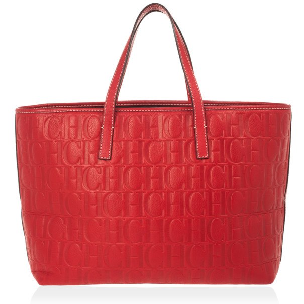 Carolina Herrera Red Embossed Leather Shopping Collection Tote