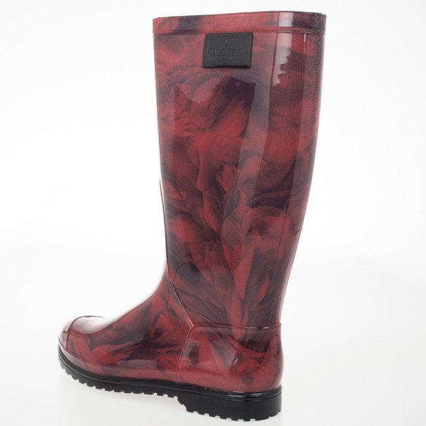 Valentino Rose Print Rubber Rain Boot Size 40