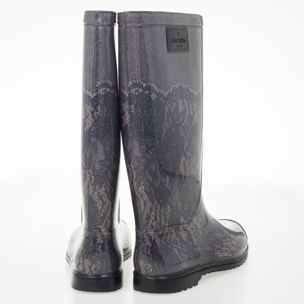 Valentino Lace Print Rubber Rain Boots Size 40