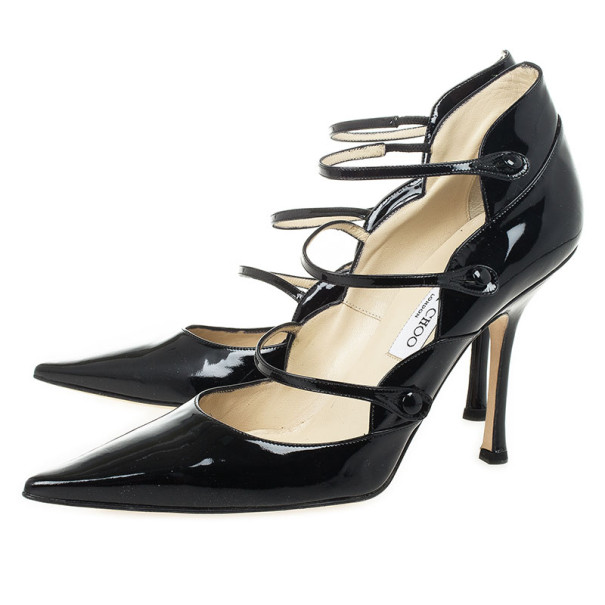 Jimmy Choo Black Patent Pointed Toe Multi Strap Mary Jane Pumps Size 41