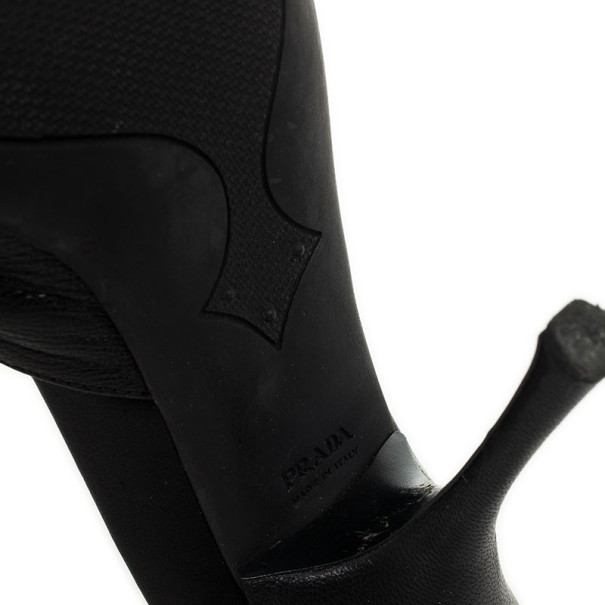 Prada Sport Black Leather High Heel Mules Size 41