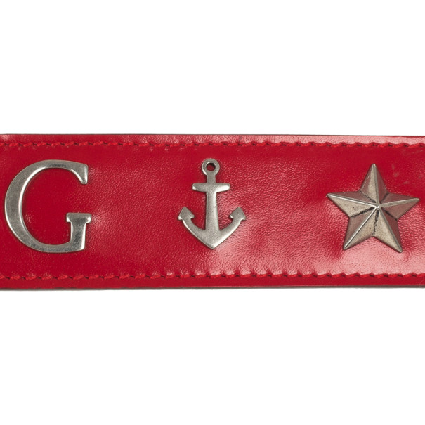 Gucci Red Leather Anchor Studded Belt