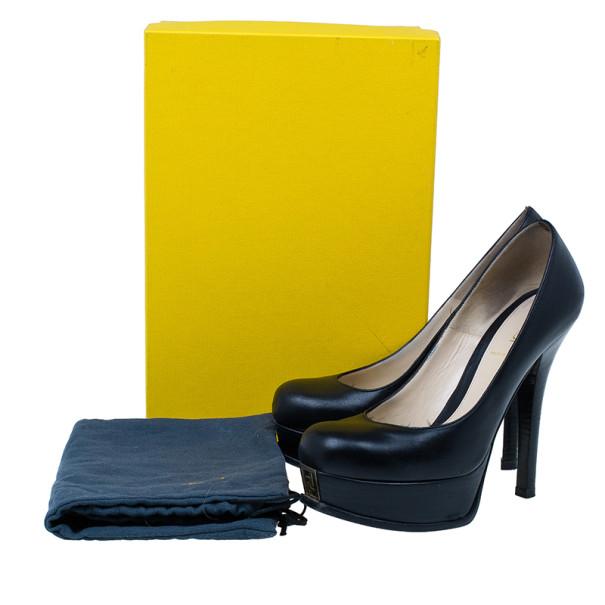 Fendi Black Leather Fendista Platform Pumps Size 38