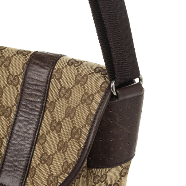 Gucci Brown Ebony GG Canvas Messenger Bag