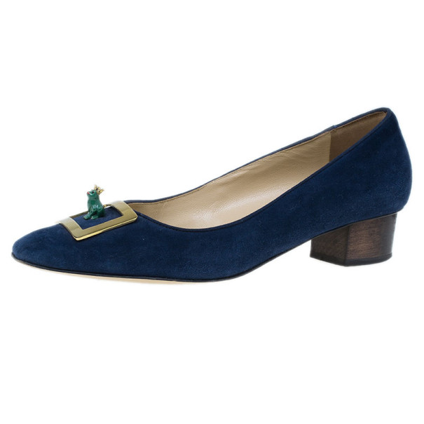 Charlotte Olympia Navy Suede Buckle Detail Kiss Me Quick Pumps Size 39