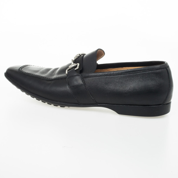 Gucci Black Leather Horsebit Loafers Size 42
