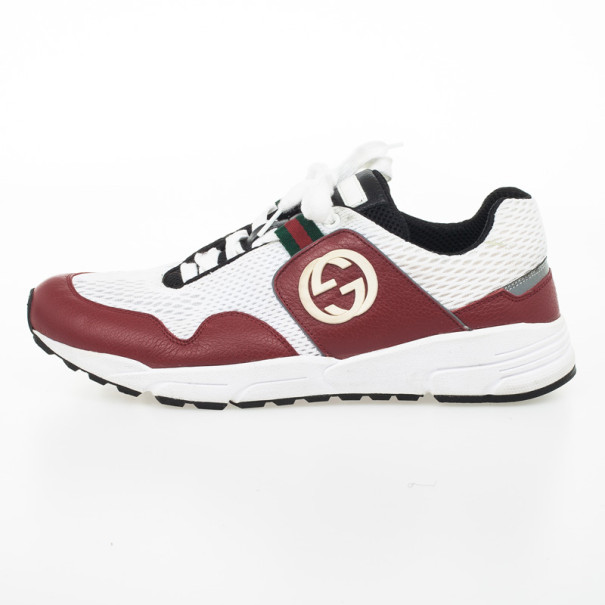 Gucci Red & White Lace Up Sneakers Size 42.5