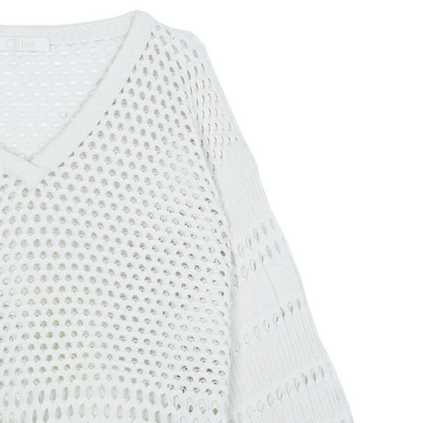 Chloe Off-white Cotton Sweater M