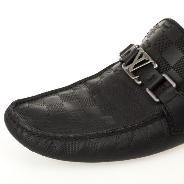 Louis Vuitton Damier Black Leather Loafers Size 42