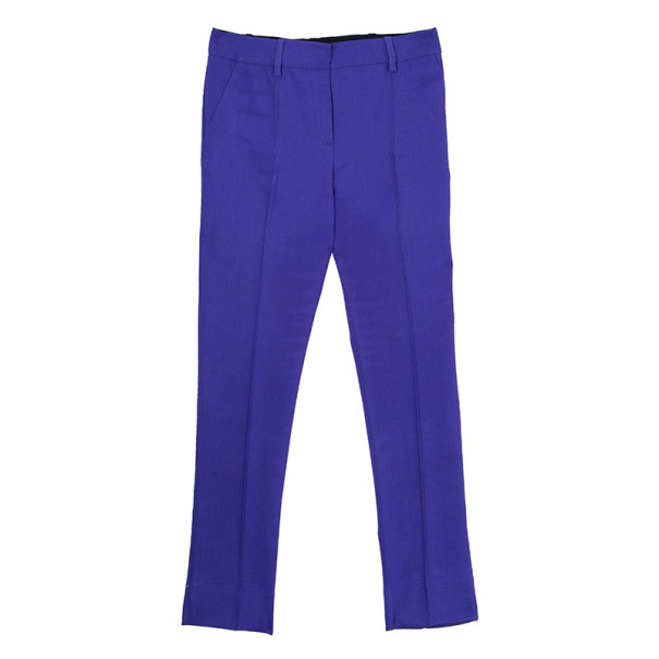 Oscar de la Renta Purple Wool Tapered Trousers S